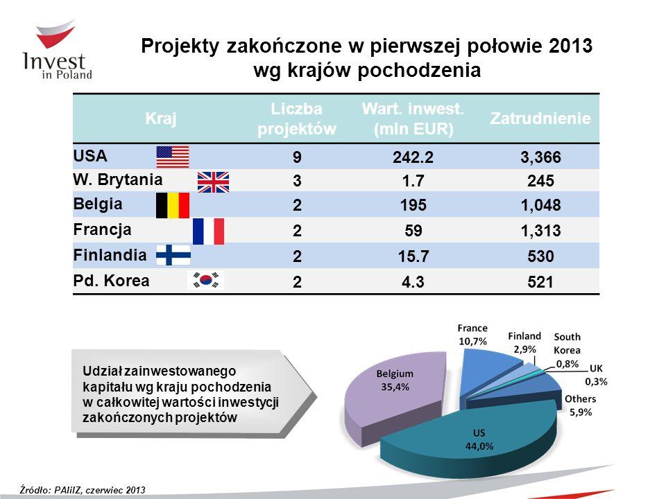 Projekty zakończone w pierwszej połowie 2013 wg krajów pochodzenia Kraj Liczba projektów Wart. inwest. (mln EUR) Zatrudnienie USA9242.23,366 W. Brytan