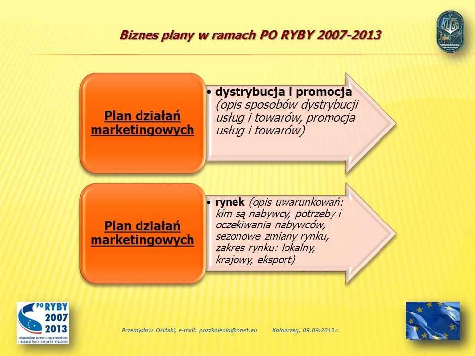 Biznes plany w ramach PO RYBY 2007-2013 Przemysław Osiński, e-mail: poszkolenia@onet.euKołobrzeg, 09.09.2013 r. dystrybucja i promocja (opis sposobów