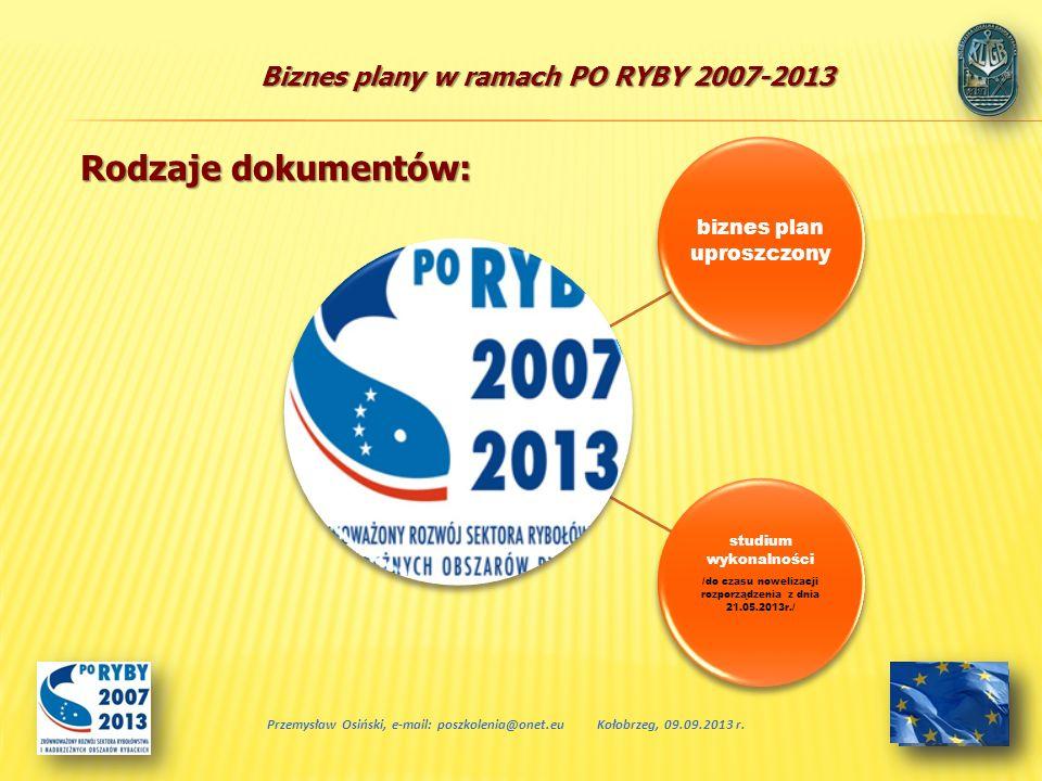 Biznes plany w ramach PO RYBY 2007-2013 biznes plan uproszczony studium wykonalności /do czasu nowelizacji rozporządzenia z dnia 21.05.2013r./ Przemys