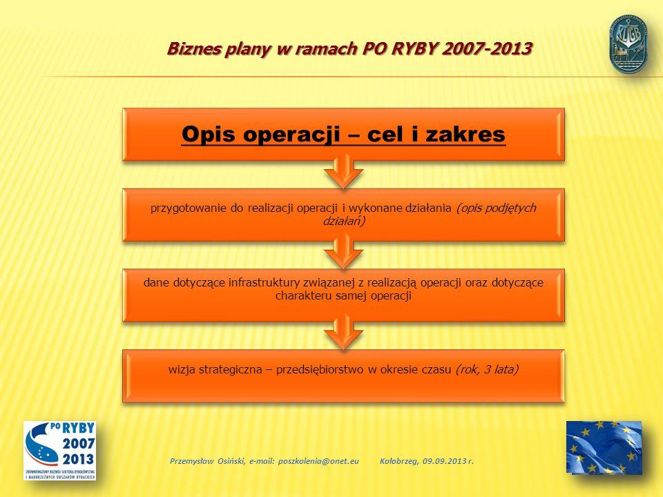 Biznes plany w ramach PO RYBY 2007-2013 Przemysław Osiński, e-mail: poszkolenia@onet.euKołobrzeg, 09.09.2013 r. wizja strategiczna – przedsiębiorstwo