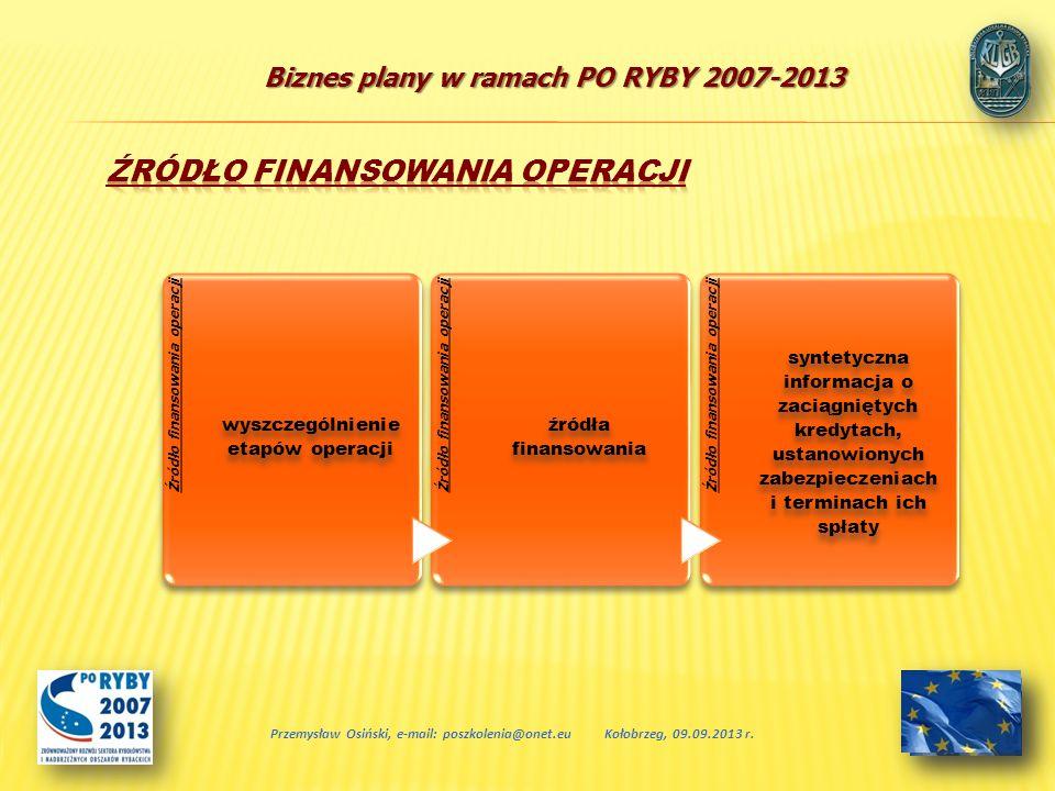 Biznes plany w ramach PO RYBY 2007-2013 Przemysław Osiński, e-mail: poszkolenia@onet.euKołobrzeg, 09.09.2013 r. Źródło finansowania operacji wyszczegó