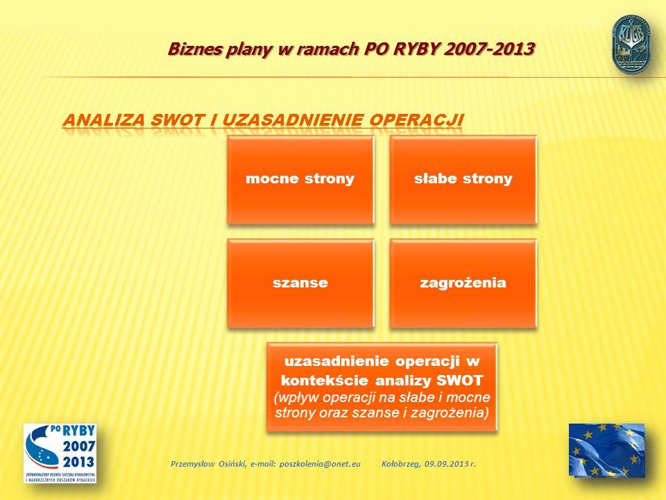 Biznes plany w ramach PO RYBY 2007-2013 Przemysław Osiński, e-mail: poszkolenia@onet.euKołobrzeg, 09.09.2013 r. mocne stronysłabe strony szansezagroże