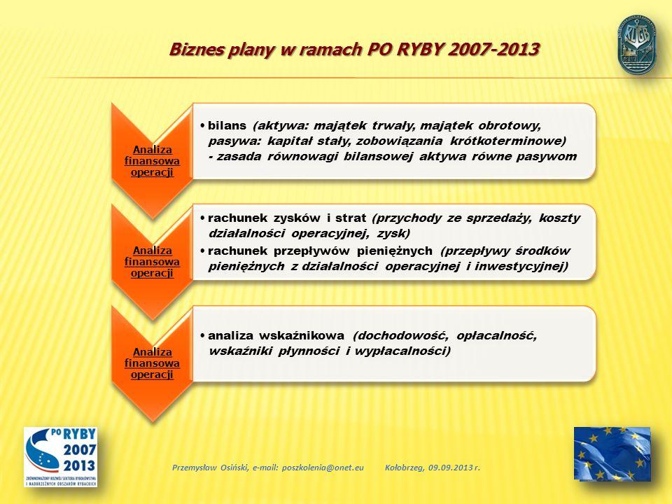 Biznes plany w ramach PO RYBY 2007-2013 Przemysław Osiński, e-mail: poszkolenia@onet.euKołobrzeg, 09.09.2013 r. Analiza finansowa operacji bilans (akt