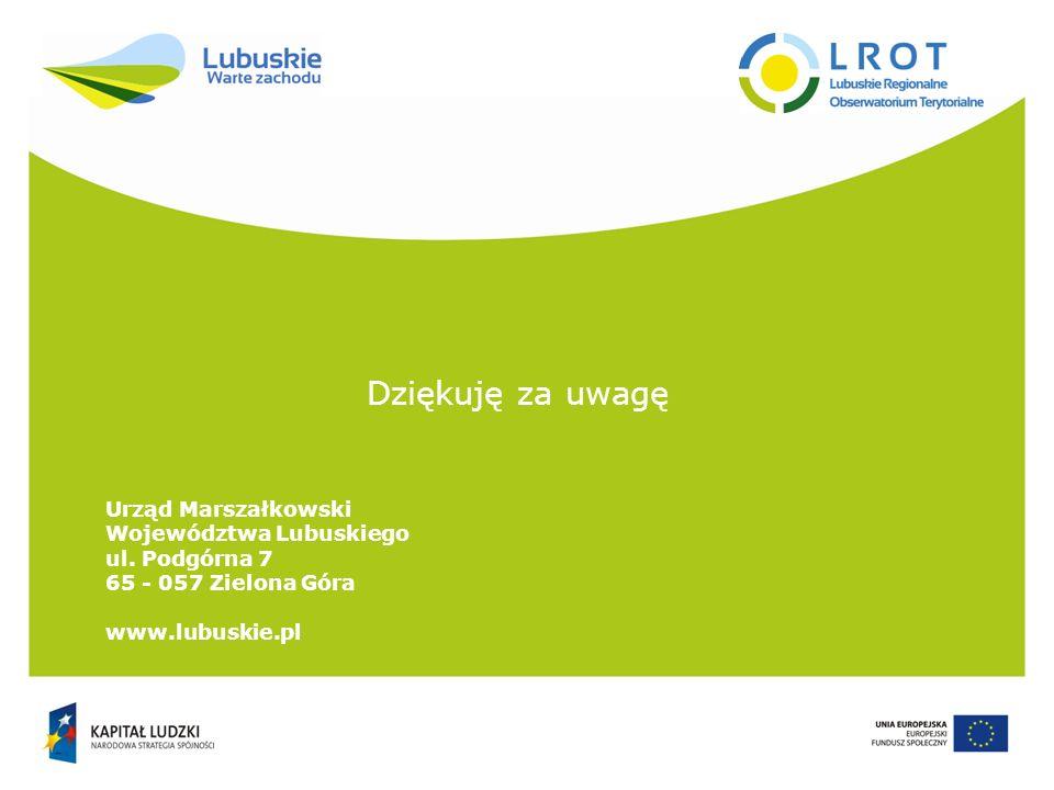 Dziękuję za uwagę Urząd Marszałkowski Województwa Lubuskiego ul. Podgórna 7 65 - 057 Zielona Góra www.lubuskie.pl