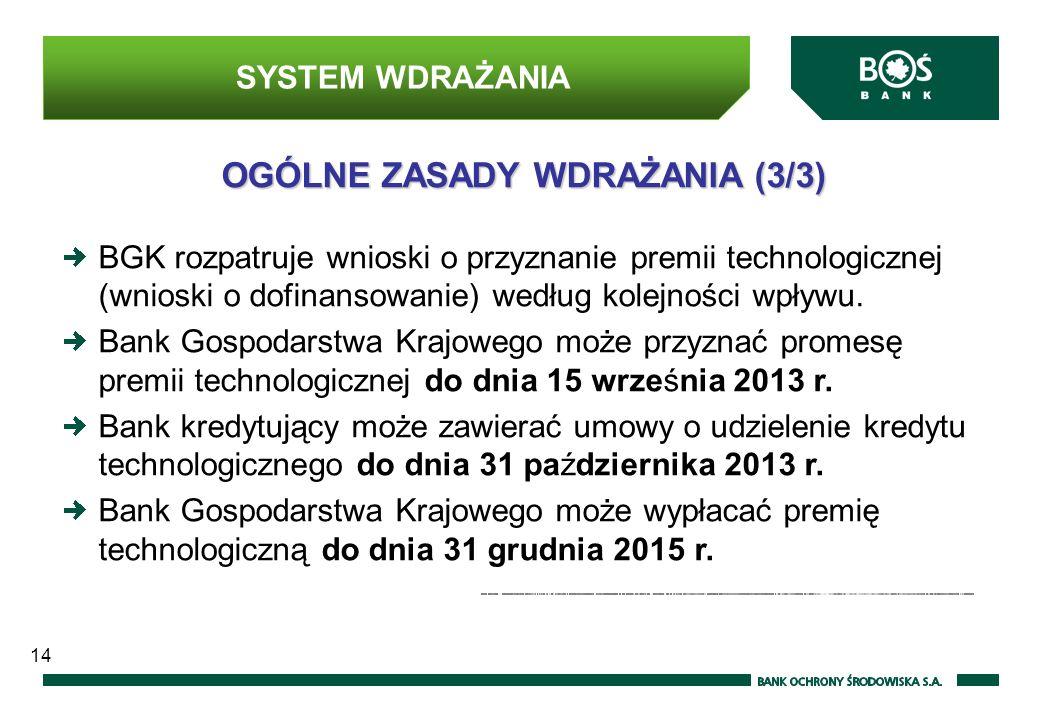 OGÓLNE ZASADY WDRAŻANIA (3/3) BGK rozpatruje wnioski o przyznanie premii technologicznej (wnioski o dofinansowanie) według kolejności wpływu.