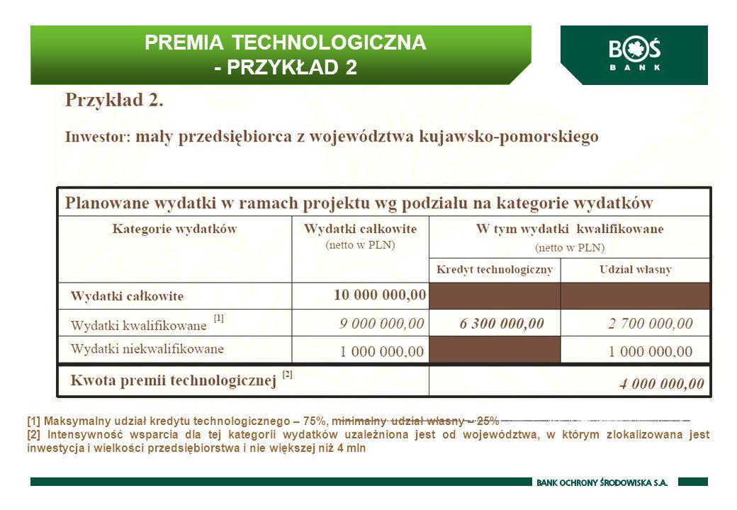 PREMIA TECHNOLOGICZNA - PRZYKŁAD 2 [1] Maksymalny udział kredytu technologicznego – 75%, minimalny udział własny – 25% [2] Intensywność wsparcia dla tej kategorii wydatków uzależniona jest od województwa, w którym zlokalizowana jest inwestycja i wielkości przedsiębiorstwa i nie większej niż 4 mln