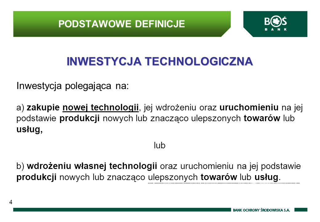 INWESTYCJA TECHNOLOGICZNA Inwestycja polegająca na: a) zakupie nowej technologii, jej wdrożeniu oraz uruchomieniu na jej podstawie produkcji nowych lub znacząco ulepszonych towarów lub usług, lub b) wdrożeniu własnej technologii oraz uruchomieniu na jej podstawie produkcji nowych lub znacząco ulepszonych towarów lub usług.