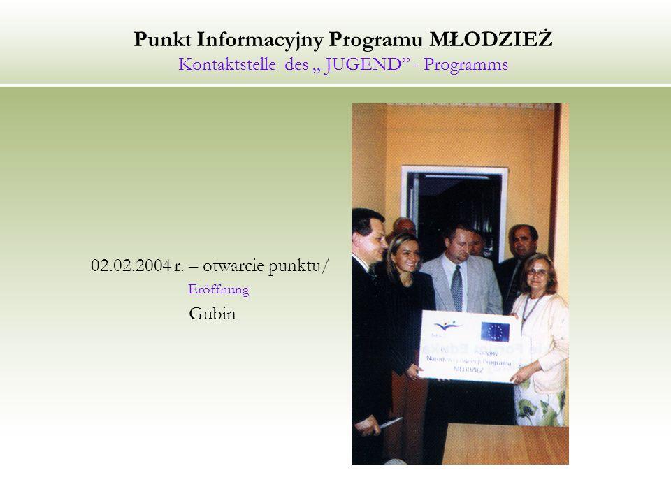 Punkt Informacyjny Programu MŁODZIEŻ Kontaktstelle des JUGEND - Programms 02.02.2004 r.