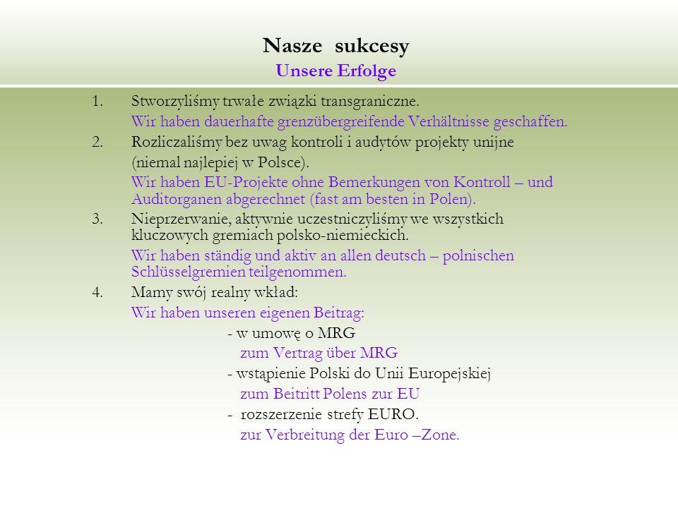 Nasze sukcesy Unsere Erfolge 1.Stworzyliśmy trwałe związki transgraniczne.