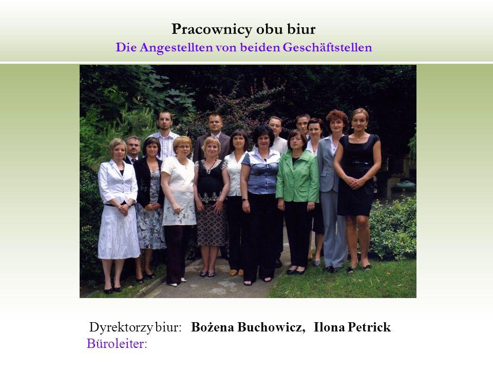 Pracownicy obu biur Die Angestellten von beiden Geschäftstellen Dyrektorzy biur: Bożena Buchowicz, Ilona Petrick Büroleiter: