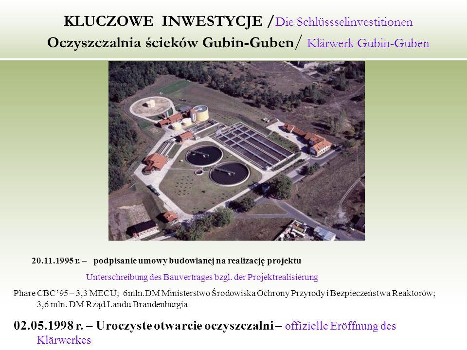 KLUCZOWE INWESTYCJE / Die Schlüssselinvestitionen Oczyszczalnia ścieków Gubin-Guben / Klärwerk Gubin-Guben 20.11.1995 r.
