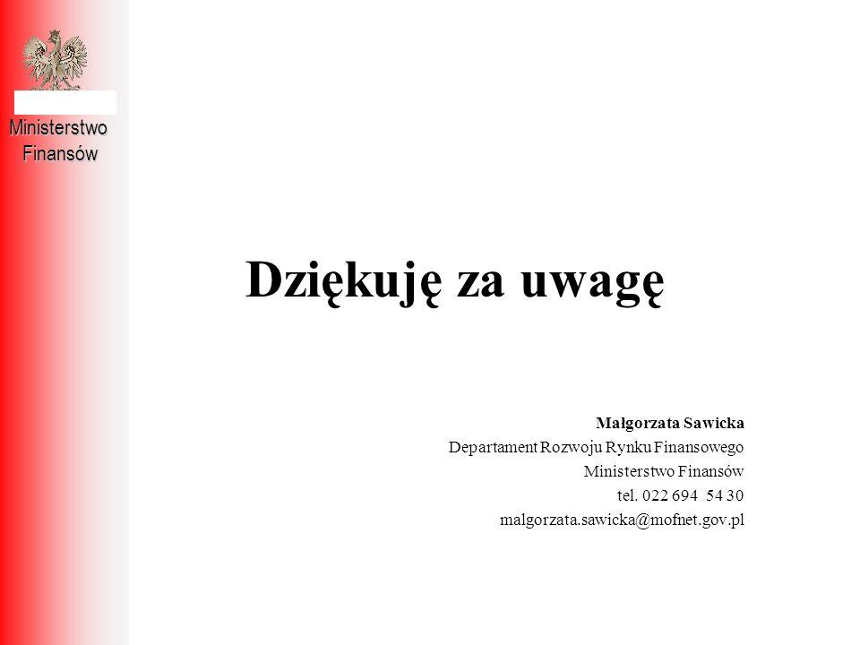 Dziękuję za uwagę MinisterstwoFinansów Małgorzata Sawicka Departament Rozwoju Rynku Finansowego Ministerstwo Finansów tel. 022 694 54 30 malgorzata.sa