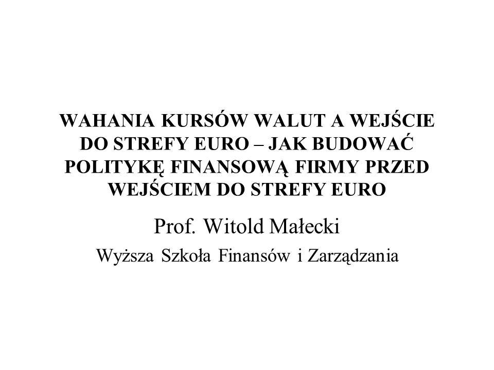 WAHANIA KURSÓW WALUT A WEJŚCIE DO STREFY EURO – JAK BUDOWAĆ POLITYKĘ FINANSOWĄ FIRMY PRZED WEJŚCIEM DO STREFY EURO Prof. Witold Małecki Wyższa Szkoła