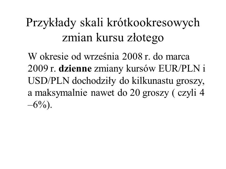 Przykłady skali krótkookresowych zmian kursu złotego W okresie od września 2008 r. do marca 2009 r. dzienne zmiany kursów EUR/PLN i USD/PLN dochodziły