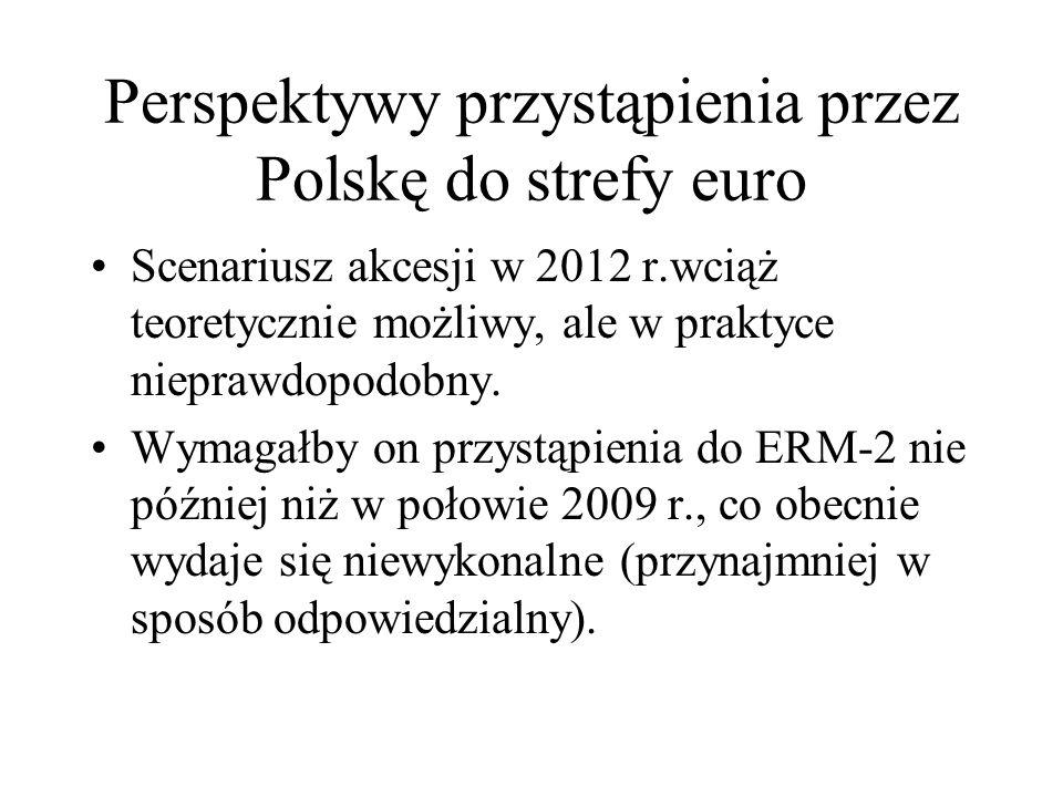 Perspektywy przystąpienia przez Polskę do strefy euro Scenariusz akcesji w 2012 r.wciąż teoretycznie możliwy, ale w praktyce nieprawdopodobny. Wymagał