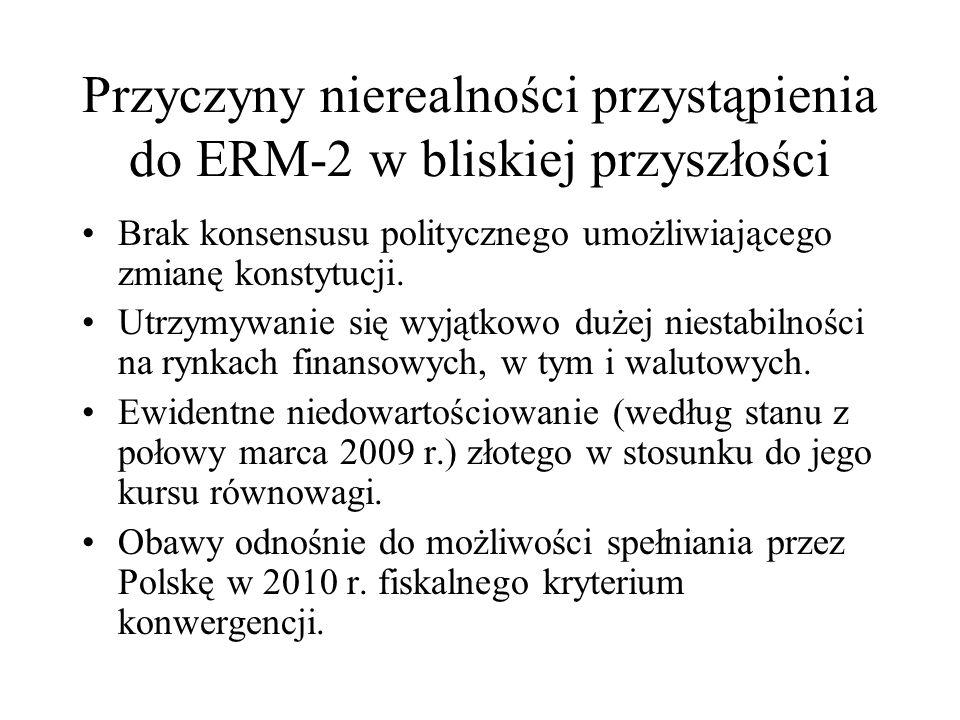 Przyczyny nierealności przystąpienia do ERM-2 w bliskiej przyszłości Brak konsensusu politycznego umożliwiającego zmianę konstytucji. Utrzymywanie się