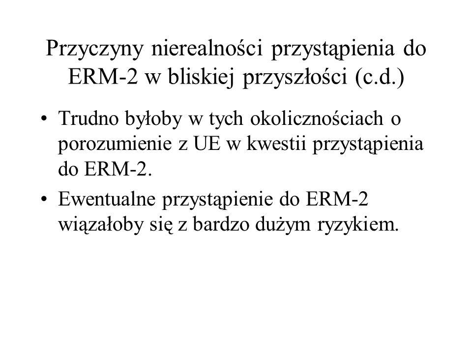 Przyczyny nierealności przystąpienia do ERM-2 w bliskiej przyszłości (c.d.) Trudno byłoby w tych okolicznościach o porozumienie z UE w kwestii przystą