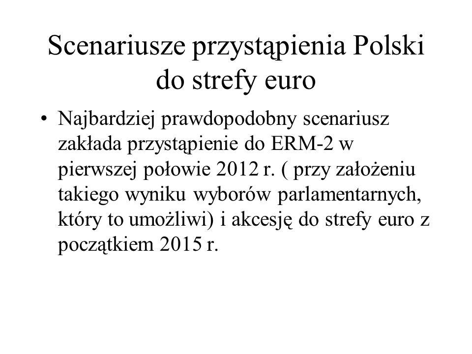 Scenariusze przystąpienia Polski do strefy euro Najbardziej prawdopodobny scenariusz zakłada przystąpienie do ERM-2 w pierwszej połowie 2012 r. ( przy