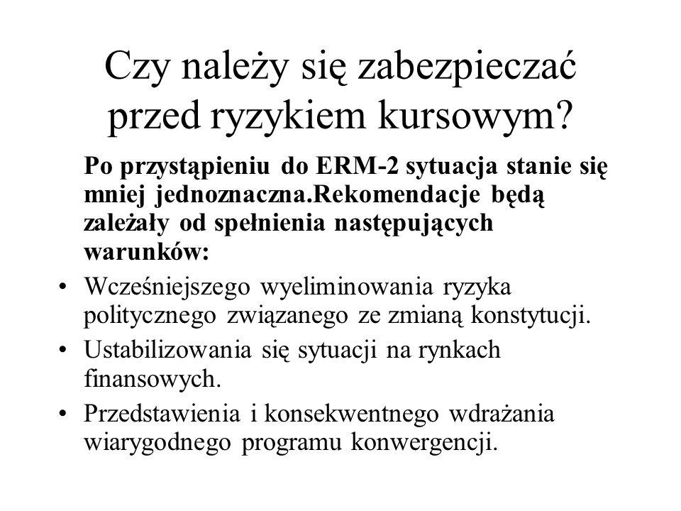 Czy należy się zabezpieczać przed ryzykiem kursowym? Po przystąpieniu do ERM-2 sytuacja stanie się mniej jednoznaczna.Rekomendacje będą zależały od sp