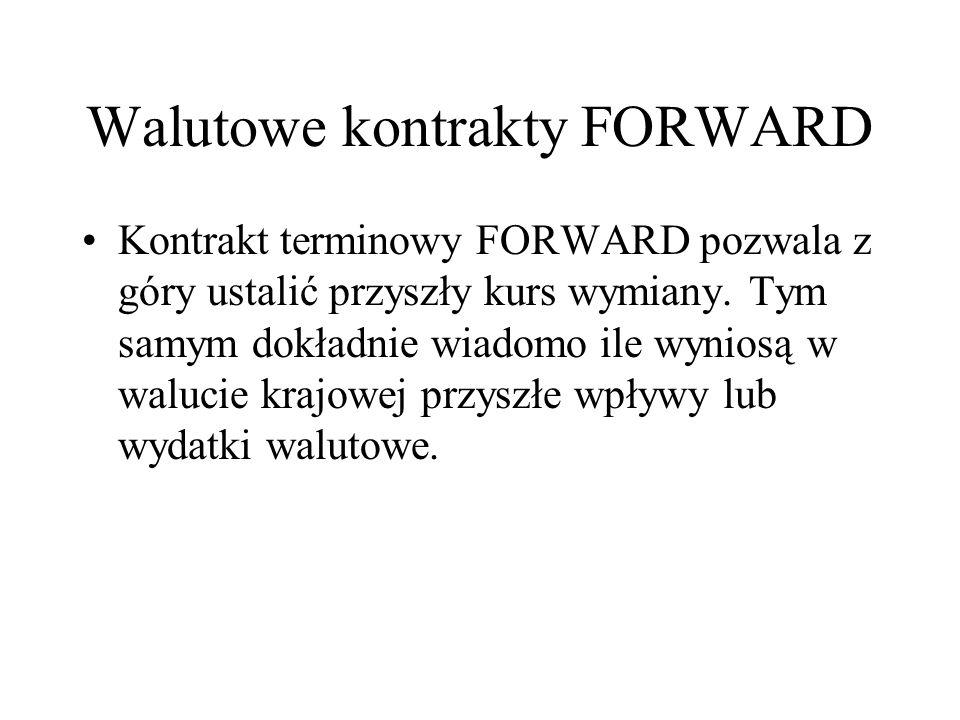 Walutowe kontrakty FORWARD Kontrakt terminowy FORWARD pozwala z góry ustalić przyszły kurs wymiany. Tym samym dokładnie wiadomo ile wyniosą w walucie
