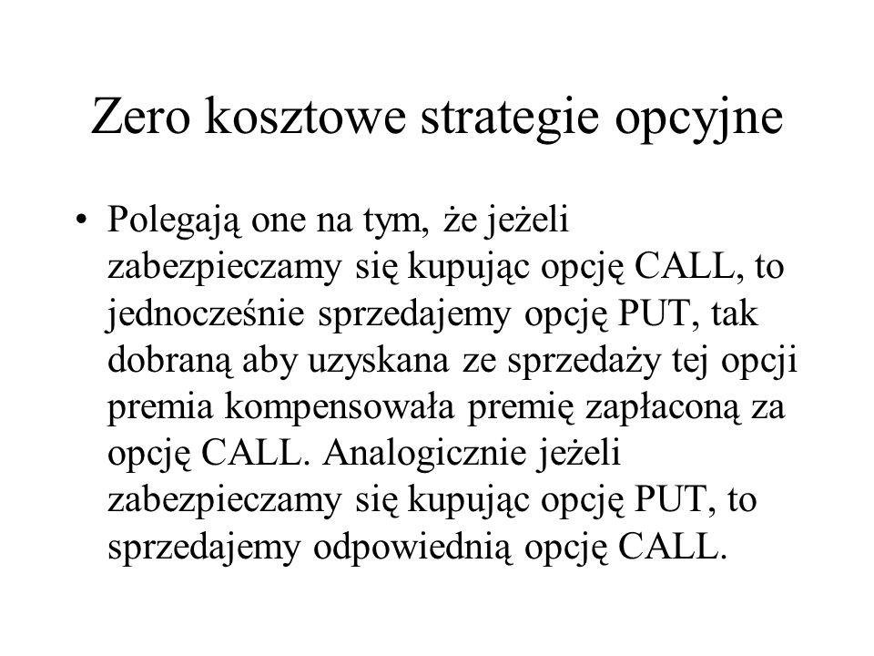 Zero kosztowe strategie opcyjne Polegają one na tym, że jeżeli zabezpieczamy się kupując opcję CALL, to jednocześnie sprzedajemy opcję PUT, tak dobran
