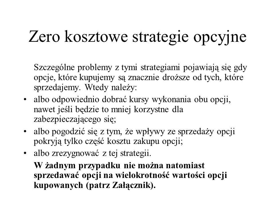 Zero kosztowe strategie opcyjne Szczególne problemy z tymi strategiami pojawiają się gdy opcje, które kupujemy są znacznie droższe od tych, które sprz