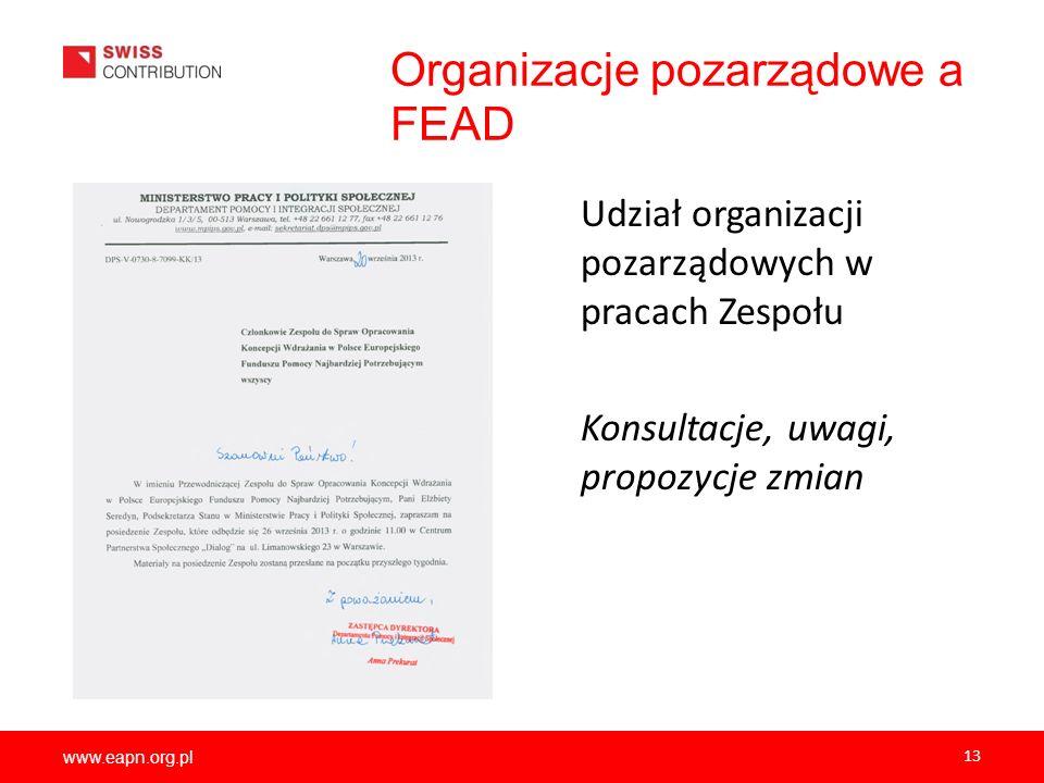 www.eapn.org.pl Organizacje pozarządowe a FEAD Udział organizacji pozarządowych w pracach Zespołu Konsultacje, uwagi, propozycje zmian 13