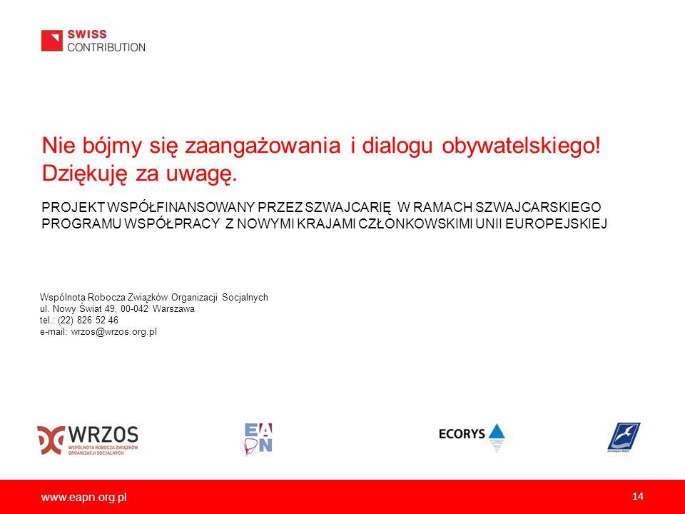 www.eapn.org.pl Nie bójmy się zaangażowania i dialogu obywatelskiego! Dziękuję za uwagę. 14 PROJEKT WSPÓŁFINANSOWANY PRZEZ SZWAJCARIĘ W RAMACH SZWAJCA