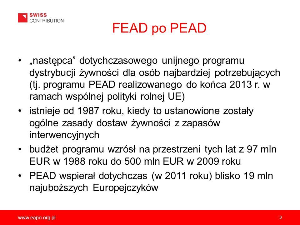 www.eapn.org.pl 3 FEAD po PEAD następca dotychczasowego unijnego programu dystrybucji żywności dla osób najbardziej potrzebujących (tj. programu PEAD