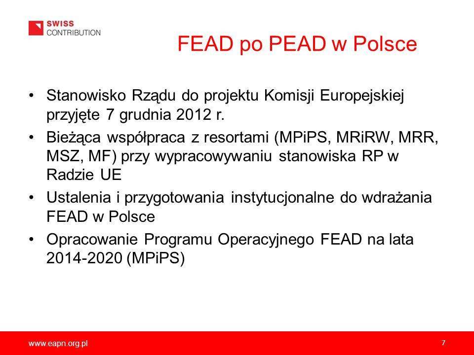 www.eapn.org.pl 7 FEAD po PEAD w Polsce Stanowisko Rządu do projektu Komisji Europejskiej przyjęte 7 grudnia 2012 r. Bieżąca współpraca z resortami (M