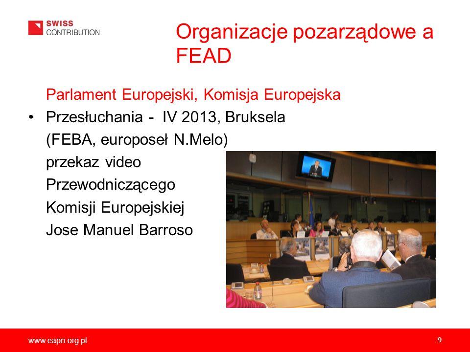 www.eapn.org.pl Organizacje pozarządowe a FEAD Parlament Europejski, Komisja Europejska Przesłuchania - IV 2013, Bruksela (FEBA, europoseł N.Melo) prz