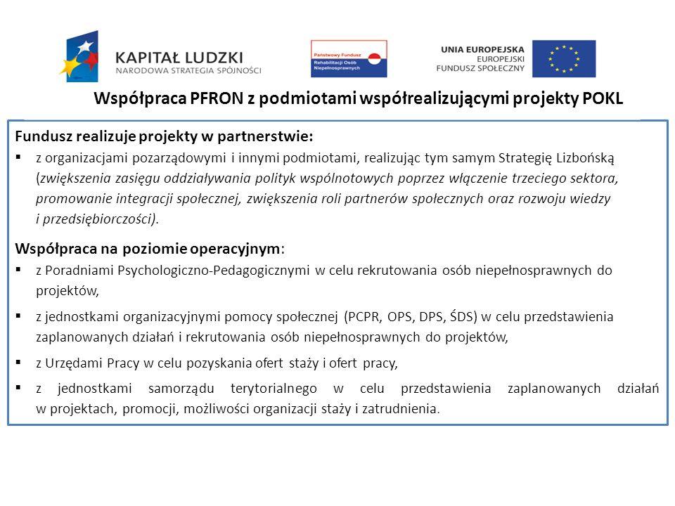 Fundusz realizuje projekty w partnerstwie: z organizacjami pozarządowymi i innymi podmiotami, realizując tym samym Strategię Lizbońską (zwiększenia za