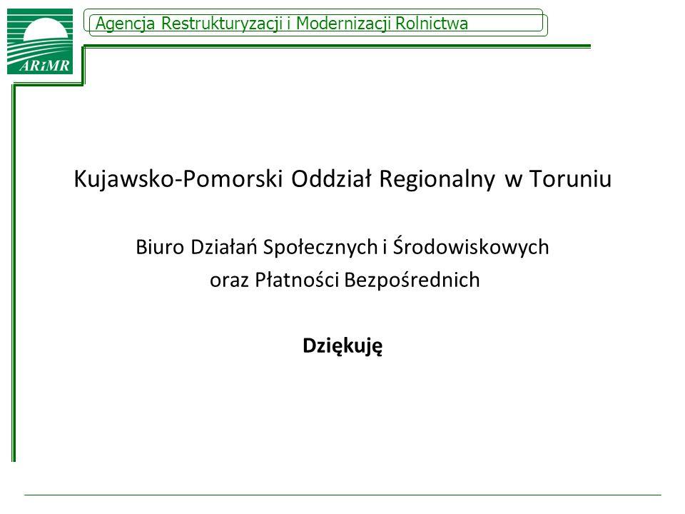 Kujawsko-Pomorski Oddział Regionalny w Toruniu Biuro Działań Społecznych i Środowiskowych oraz Płatności Bezpośrednich Dziękuję