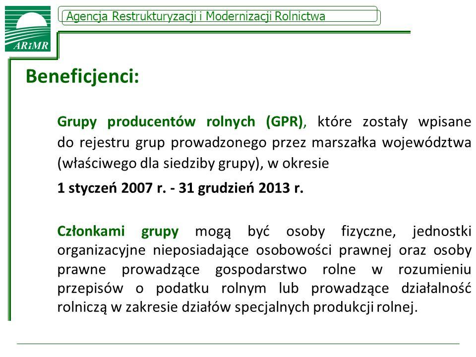 Agencja Restrukturyzacji i Modernizacji Rolnictwa Beneficjenci: Grupy producentów rolnych (GPR), które zostały wpisane do rejestru grup prowadzonego p