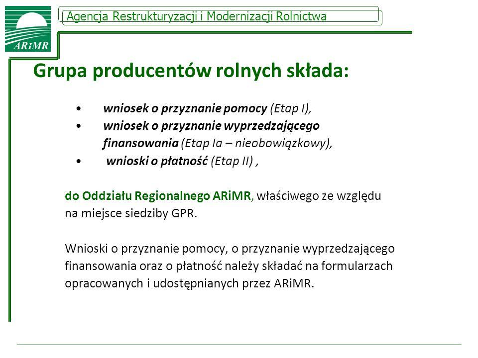 Agencja Restrukturyzacji i Modernizacji Rolnictwa Grupa producentów rolnych składa: wniosek o przyznanie pomocy (Etap I), wniosek o przyznanie wyprzed