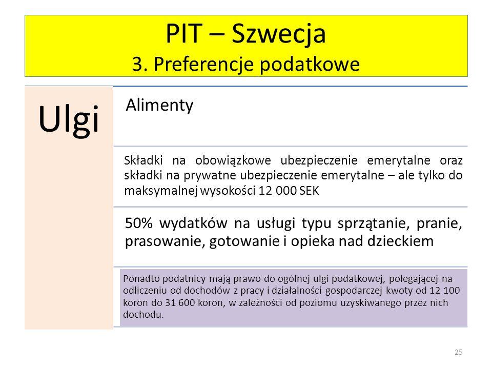 PIT – Szwecja 3. Preferencje podatkowe Ulgi Alimenty Składki na obowiązkowe ubezpieczenie emerytalne oraz składki na prywatne ubezpieczenie emerytalne