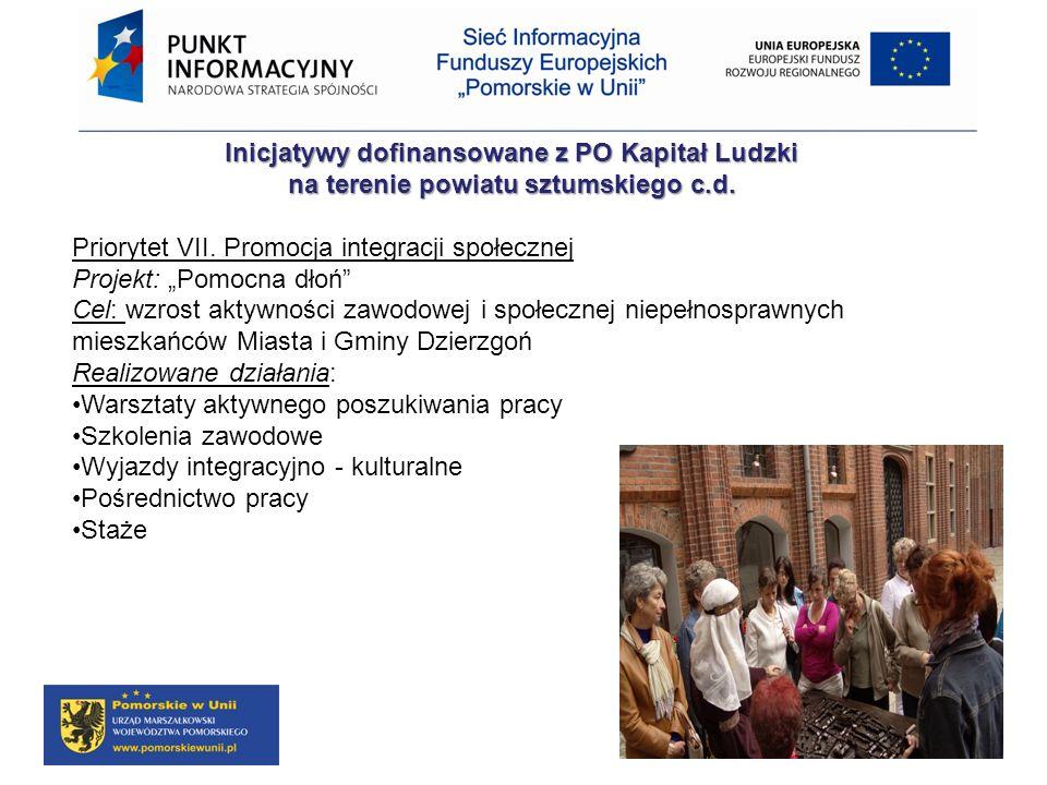 Inicjatywy dofinansowane z PO Kapitał Ludzki na terenie powiatu sztumskiego c.d. Priorytet VII. Promocja integracji społecznej Projekt: Pomocna dłoń C