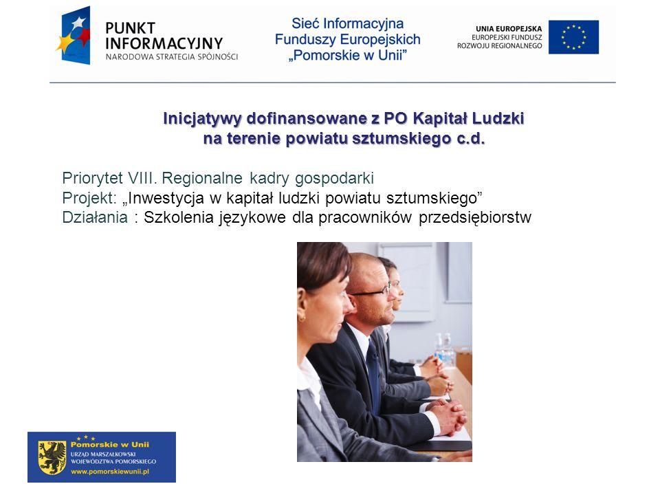 Inicjatywy dofinansowane z PO Kapitał Ludzki na terenie powiatu sztumskiego c.d. Priorytet VIII. Regionalne kadry gospodarki Projekt: Inwestycja w kap