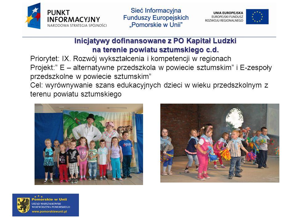 Inicjatywy dofinansowane z PO Kapitał Ludzki na terenie powiatu sztumskiego c.d. Priorytet: IX. Rozwój wykształcenia i kompetencji w regionach Projekt