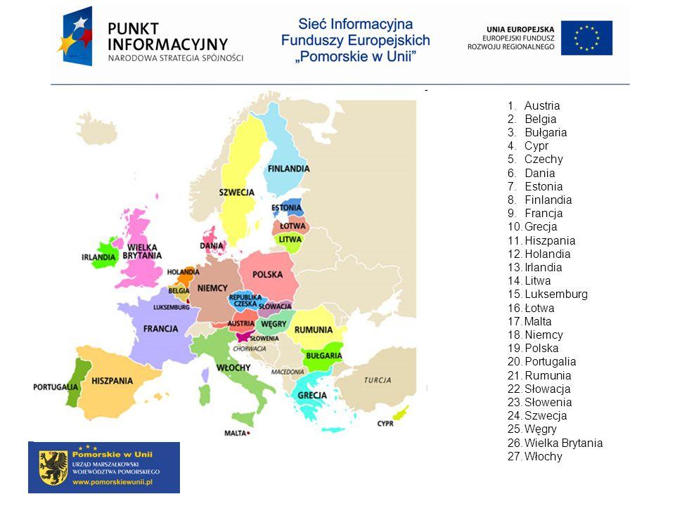 1.Austria 2.Belgia 3.Bułgaria 4.Cypr 5.Czechy 6.Dania 7.Estonia 8.Finlandia 9.Francja 10.Grecja 11.Hiszpania 12.Holandia 13.Irlandia 14.Litwa 15.Lukse