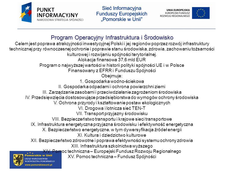 Program Operacyjny Infrastruktura i Środowisko Celem jest poprawa atrakcyjności inwestycyjnej Polski i jej regionów poprzez rozwój infrastruktury tech