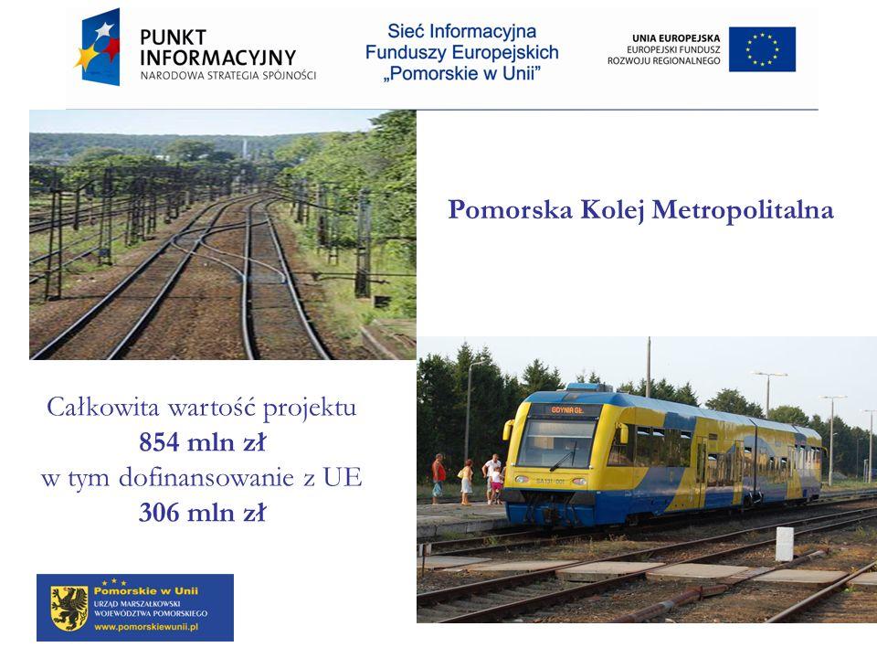 Pomorska Kolej Metropolitalna Całkowita wartość projektu 854 mln zł w tym dofinansowanie z UE 306 mln zł