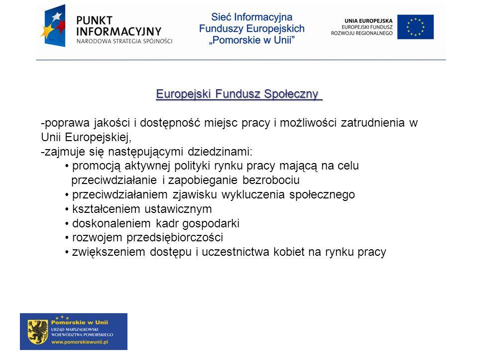 Europejski Fundusz Społeczny Europejski Fundusz Społeczny -poprawa jakości i dostępność miejsc pracy i możliwości zatrudnienia w Unii Europejskiej, -z