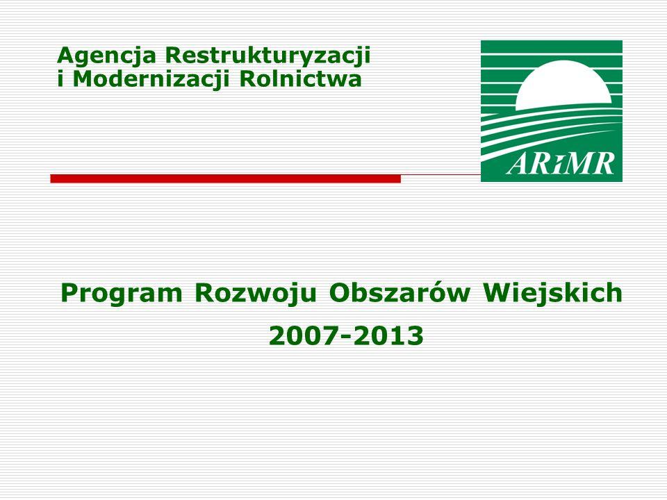 Agencja Restrukturyzacji i Modernizacji Rolnictwa Program Rozwoju Obszarów Wiejskich 2007-2013