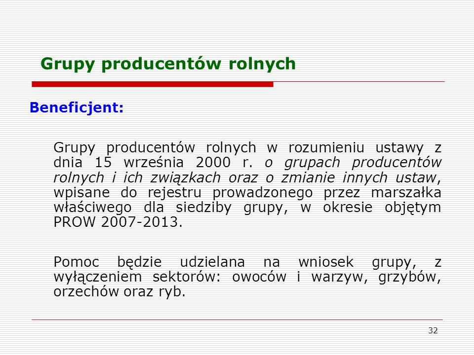 32 Grupy producentów rolnych Beneficjent: Grupy producentów rolnych w rozumieniu ustawy z dnia 15 września 2000 r.