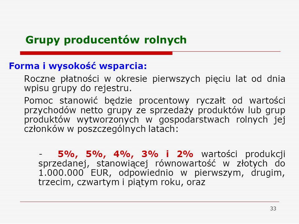 33 Grupy producentów rolnych Forma i wysokość wsparcia: Roczne płatności w okresie pierwszych pięciu lat od dnia wpisu grupy do rejestru.