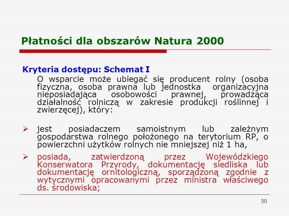 50 Płatności dla obszarów Natura 2000 Kryteria dostępu: Schemat I O wsparcie może ubiegać się producent rolny (osoba fizyczna, osoba prawna lub jednostka organizacyjna nieposiadająca osobowości prawnej, prowadząca działalność rolniczą w zakresie produkcji roślinnej i zwierzęcej), który: jest posiadaczem samoistnym lub zależnym gospodarstwa rolnego położonego na terytorium RP, o powierzchni użytków rolnych nie mniejszej niż 1 ha, posiada, zatwierdzoną przez Wojewódzkiego Konserwatora Przyrody, dokumentację siedliska lub dokumentację ornitologiczną, sporządzoną zgodnie z wytycznymi opracowanymi przez ministra właściwego ds.