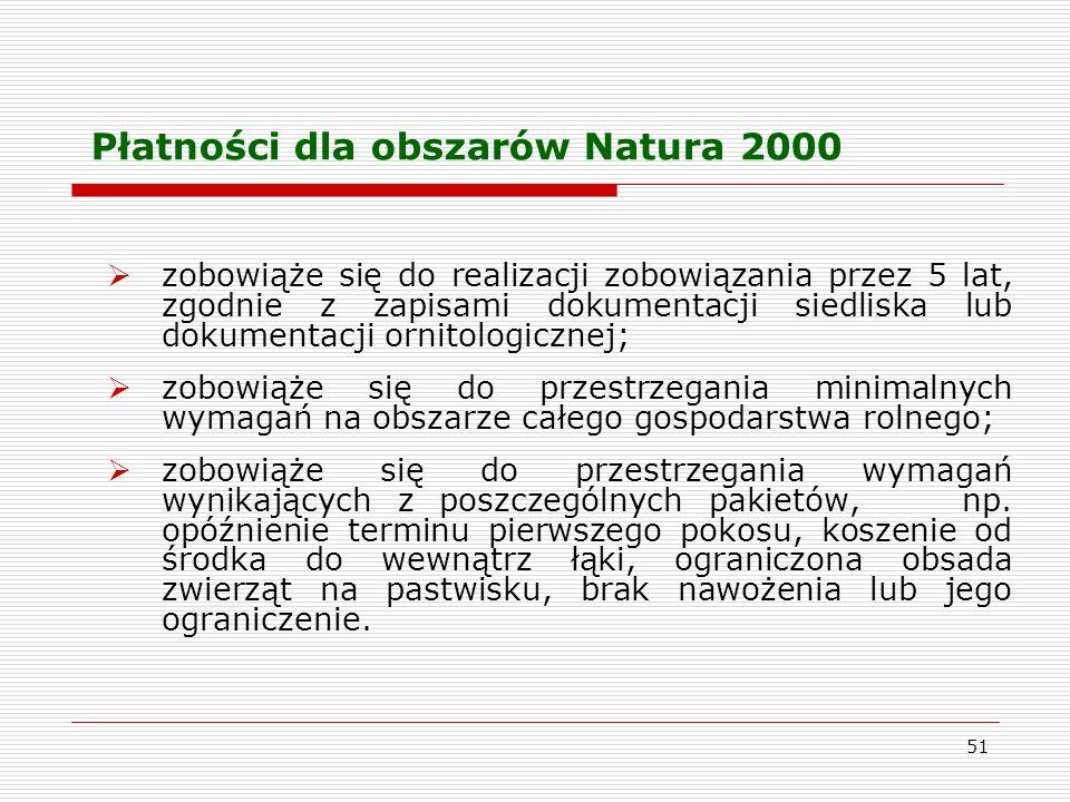 51 Płatności dla obszarów Natura 2000 zobowiąże się do realizacji zobowiązania przez 5 lat, zgodnie z zapisami dokumentacji siedliska lub dokumentacji ornitologicznej; zobowiąże się do przestrzegania minimalnych wymagań na obszarze całego gospodarstwa rolnego; zobowiąże się do przestrzegania wymagań wynikających z poszczególnych pakietów, np.