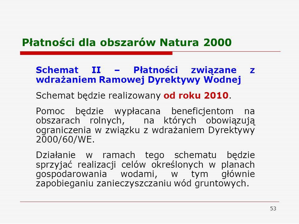 53 Płatności dla obszarów Natura 2000 Schemat II – Płatności związane z wdrażaniem Ramowej Dyrektywy Wodnej Schemat będzie realizowany od roku 2010.