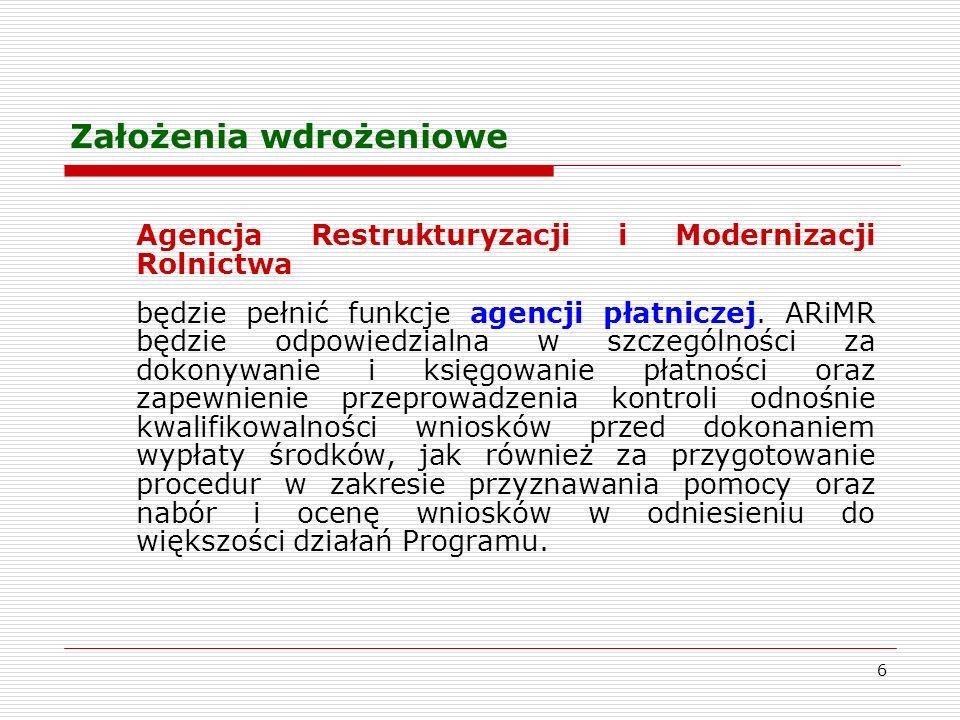 6 Założenia wdrożeniowe Agencja Restrukturyzacji i Modernizacji Rolnictwa będzie pełnić funkcje agencji płatniczej.